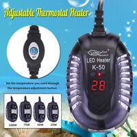 25W 100W Aquarium Fish Tank LED Digital Water Heater Thermostat Submersible