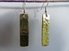 Brass Hammered Earrings Rectangle 4cm length or 1 5/8 inch approximate