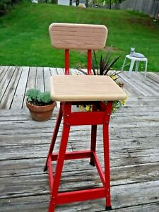 VINTAGE Sears Work N' Hobby Red Metal + Wood Stool-UNUSED IN ORIG BOX Mid1960's