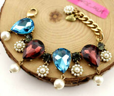 Charm Betsey Johnson Fashion Jewelry Enamel crystal pearl heart Bracelet women