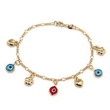 "14k Gold Filled Bracelet Chain Turkish Evil Eye Protection Charms 6.5"" Kids"