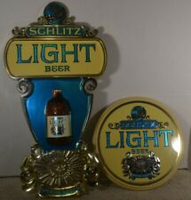2 Schlitz Light Beer Special Lager plastic signs display 12 oz bottle 1976 globe