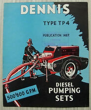 DENNIS TYPE TP4 STATIONARY & TRAILER FIRE PUMPS Sales Brochure c1961 #148P