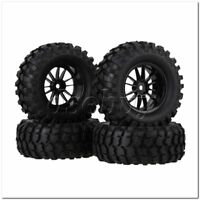 4x RC1:10 Rock Crawler Black 96mm Dia Rubber Tires + Plastic 12 Spoke Wheel Rims