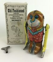 "Old Fashioned Jointed Metal Tumbling Monkey 5"" Toy Vintage 1984 with Key and Box"
