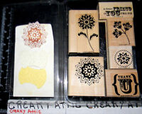 STAMPIN UP TRUE FRIEND 6 RUBBER STAMPS FLOWERS SAMPLES INCLUDED