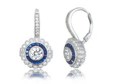 Lever Hoop Sterling Silver Earrings-Vermeil Blue Sapphire+Clear 5A Cz Cluster