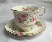 'Pink Roses' Fine English Bone China Tea Cup and Saucer Set -Vintage 1974 Avon