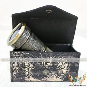 Brass Engraved Antique Style Monocular Traveling Pirate Scope with Leather Box
