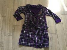 LAUREN Ralph Purple Plaid Polyester Women's Logo Fleece Robe Sz S