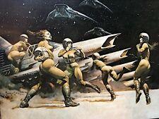 FRANK FRAZETTA Scramble Battle Star FANTASY Litho PRINT 16 X 21.5 Vintage  #104