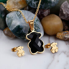 New Women Colourful Bear 01 Pendant Necklace Chain Earrings Jewelry Set Gift