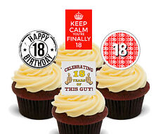 18th Birthday Boy, Edible Cupcake Toppers, Stand-up Fairy Cake Decorations, Male