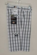 NEW DICKIES White Black Plaid SHORTS Multi Use Cell Phone Pocket MENS 30 NWT