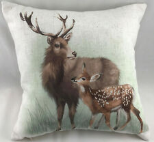 Print of a Stag and Calf on Cream Background FILLED Evans Lichfield Cushion