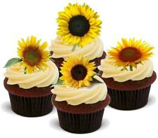 SUNFLOWER MIX - 12 Edible Stand Up Premium Wafer Cake Toppers