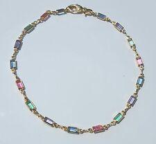 """Multi-Color Stones 9""""3/4 inch #7 Gold Filled Ankle Bracelet Rectangle Light"""