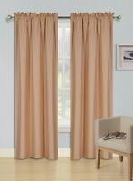 2 PANELS ROD POCKET FOAM LINED THERMAL BLACKOUT WINDOW CURTAIN DRAPE R64 GOLD
