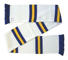 Leeds style White, Royal Blue, and Gold Retro Bar Scarf - Made in the UK