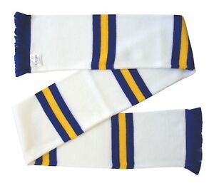 Leeds Supporters White, Royal Blue, and Gold Retro Bar Scarf - Made in the UK