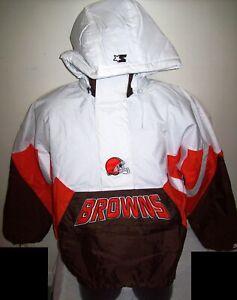 CLEVELAND BROWNS Limited Ed NFL Starter Hooded Half Zip Pullover Jacket WHITE 2X
