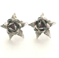 Bugbee and Niles Layered Flower Silver Tone Rose Mauve Screw on Vintage Earrings