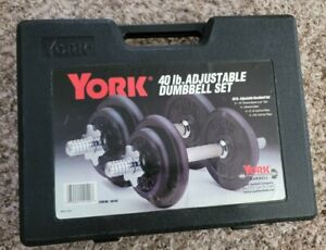 York 40 Pound Adjustable Dumbell Set Plate Weights Barbell w/ Case
