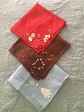 3 Vintage Appliqué And Embroidered Dainty Handkerchiefs Red,Blue & Brown  00004000