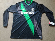 Stoke City XL New Balance Black/Green Away BET 365 Footy long Sleeve 2015-16