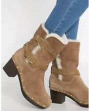 UGG Women's Brea Genuine Shearling Lined Suede Moto Boots Chestnut Brown Size 6