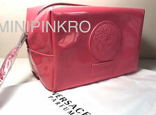 VERSACE PARFUMS PINK COSMETIC BAG MAKEUP CASE POUCH HANDBAG PURSE WITH DUST BAG