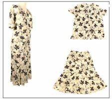 Jacques Vert Ladies skirt & Blouse outfit size 18 Beige Floral Summer Wedding