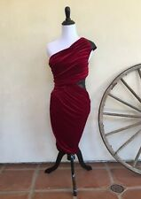 BEBE Red Velvet One Shoulder Asymmetrical Cocktail Dress Black Sequin USA S