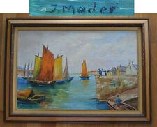 20 x 30 J. MADER Signed Artist Original Painting Oil on Board Seascape joseph