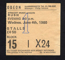 1980 Rush concert ticket stub Permanent Waves Hammersmith UK Spirit Of Radio 6/4