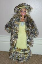BARBIE DOLL OUTFIT - DRESS, COAT & HAT SET - HAND MADE - DOLL NOT INCLUDED