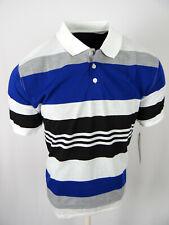 Mens Polo Shirt White Blue Classic Stripe 3 Button Regular Fit Casual Sport