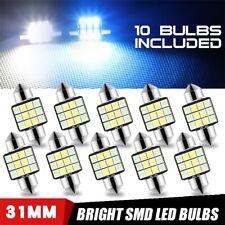 10Pcs 12SMD Blue White Dual Color 31mm LED Festoon Interior Dome Map Light Bulbs