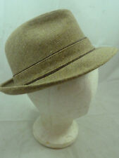 1732ad6a7df Vintage Mens Stetson Brown Camel Beige Wool Tweed Fedora Hat Derby Size 7  Cap