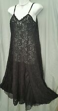 """WOMAN WITHIN BLACK  LONG SEXY STRETCH LACE GOWN MEDIUM GIFT 40"""" Bust"""