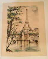 Vintage Paris La Tour Eiffel Tower France And River Seine Gondola Art Print