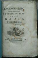 1773 STORIA DELLA BADIA FIORENTINA ABBAZIA DI SANTA MARIA A FIRENZE DI GALLETTI