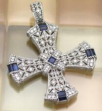 Judith Ripka Sterling Ambrosia Blue Sapphire & CZ Estate Cross Pendant 15.9G, 2""