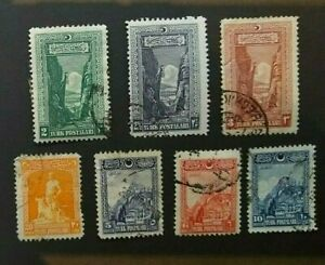 🟩  TURKEY - 1926 - Set of 7 USED STAMPS - Inscription in Arabic & Latin
