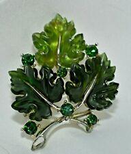 Vintage LISNER Green Thermoset (Lucite) Moonglow Maple Leaf Brooch