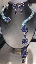 NEW DESIGN NATURAL SET BLUE SAPPHIRE & SWISS BLUE TOPAZ EARRINGS & NECKLACE
