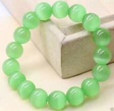 10mm Natural Light Green Cat Eye Stone Opal Gemstone Stretchy Bangle Bracelet