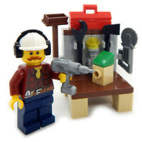 NEW LEGO HANDYMAN and WORKBENCH MINIFIG LOT city town minifigure tool dad