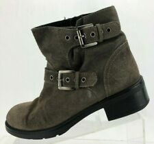 Aquatalia Ankle Boots Biker Buckle Brown Marvin K Motorcycle Booties Womens 6.5