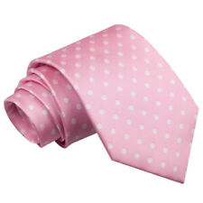 DQT Woven Polka Dot Pink Formal Casual Mens Classic Tie